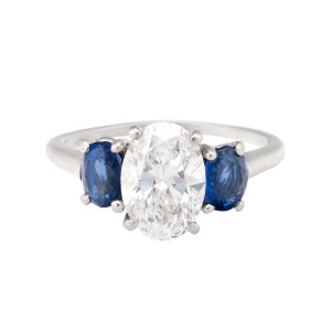 Cartier Platinum 2.01ct Oval Diamond and Blue Sapphires Engagement Ring Size 7
