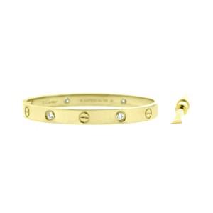 Cartier Love 18k Yellow Gold Half Dia B6035917 Bracelet Size 20