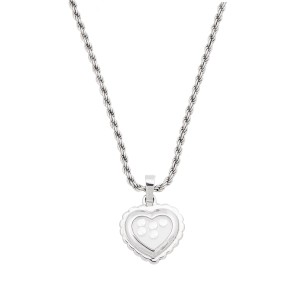 Chopard 18K White Gold Happy Diamond 0.25ct. Heart Motif Chain Necklace