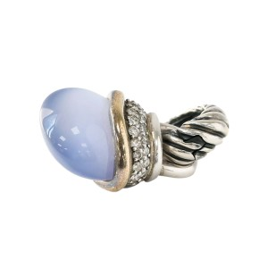 David Yurman Cable Classics Chalcedony Diamond Acorn Pendant in Gold and Silver