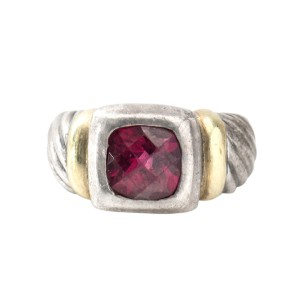 David Yurman Sterling Silver 14k Yellow Gold Garnet Noblesse Ring