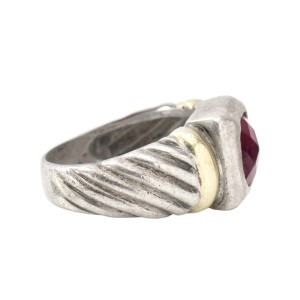 David Yurman Sterling Silver 14k Yellow Gold Garnet Noblesse Ring
