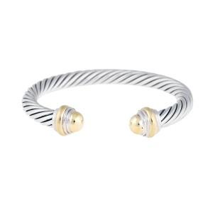 David Yurman Silver And 14K Yellow Gold Bangle Bracelet