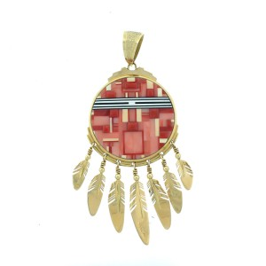 Ray Tracey 14K Gold Large Double Sided Shield Pendant