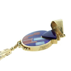 Ray Tracey 14K Yellow Gold Small Double Sided Shield Pendant