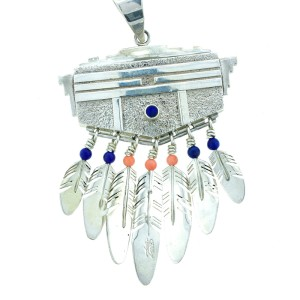 Vintage Ray Tracey Sterling Silver Lapis & Coral Pendant