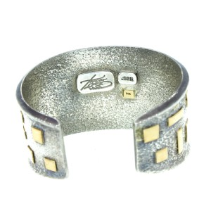Vintage 14K Yellow Gold & Sterling Silver Cuff