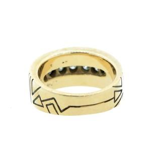 Vintage 14K Yellow Gold Ray Tracey Diamond Opal & Enamel Ring