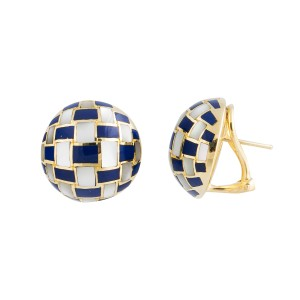 Tiffany & Co. 18k Yellow Gold Mother Of Pearl Lapis Checkerboard Vintage Earrings