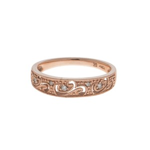 10k Rose Gold Diamond Filigree Ring