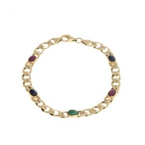 14k Yellow Gold Cuban Link Color Stone Bracelet