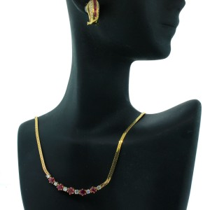 14K Yellow Gold Ruby & Diamond Earrings & Necklace Set