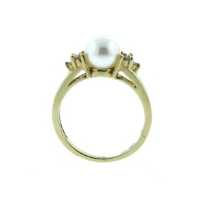 14K Yellow Gold Fresh and Water Pearl With Diamond Accent Ring
