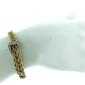 14K Yellow And White Gold And Diamond Buckle Accent Bracelet
