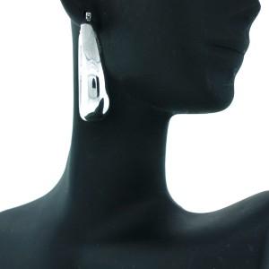 Sterling Silver Wide Oblong Shaped Earrings