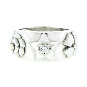 Chanel 18K White Gold 3 Symbol Comet Diamond Ring