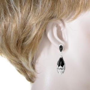 Magerit 18K White Gold Atlantis Sirena Epsuma Diamond & Onyx Dangle Earrings