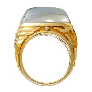 Magerit 18K Yellow Gold Babylon Caramelo Small Diamond Green Quartz Ring Size 7.0