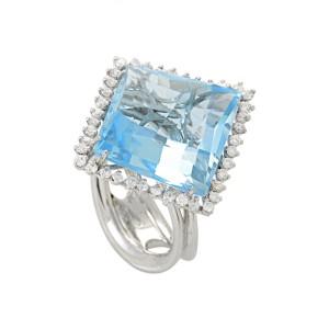 Italy Collection 18K White Gold Topaz & Diamond Ring