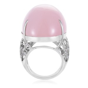 18K White Gold Diamond and Pink Quartz Cabochon Cocktail Ring Size 6.5
