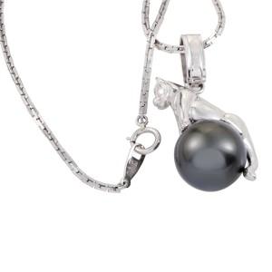 Platinum Diamond and Black Pearl Leopard Pendant Necklace