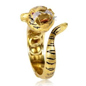 18K Multi Gold Diamond & Ruby Tiger Bangle