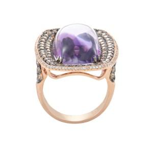 18K Rose Gold Amethyst & Diamond Ring