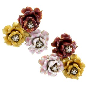 18K Yellow Gold & Diamond Floral Brooch Earring