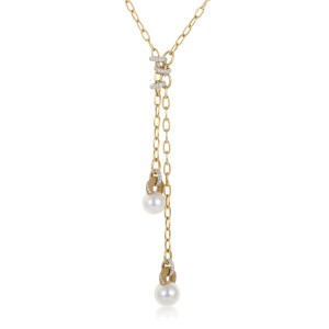 Mikimoto 18K Yellow and White Gold Diamond and Pearl Dangling Pendant Necklace