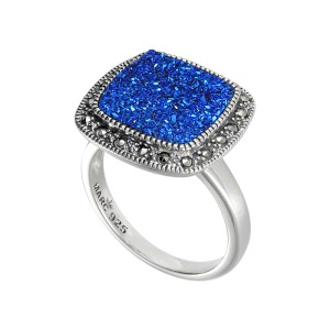 Sterling Silver Ring Set With Blue Druzy Size 7