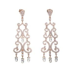 Odelia 18K Rose Gold Diamond Chandelier Earrings