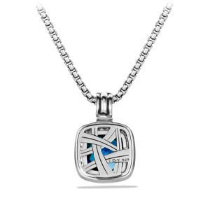 David Yurman Sterling Silver Blue Topaz & 0.21ct Diamond Albion Pendant