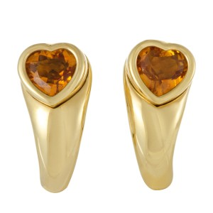 Piaget 18K Yellow Gold Citrine Heart Earrings