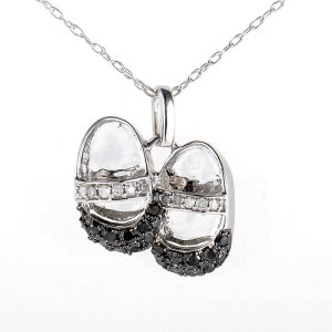 10K White Gold Multi Diamond Baby Shoe Pendant Necklace