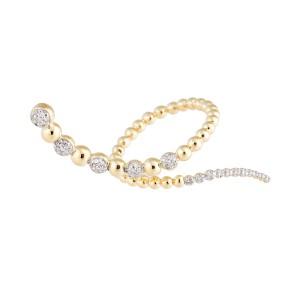Jordan Scott Design Curvy Bypass Ring Snake W/ Bead Design