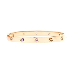 Cartier Love Bracelet R/G Colored Stones Size 18