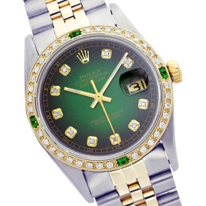 Rolex Datejust 16013 Stainless Steel with Green Dial 36mm Mens Watch