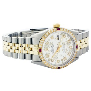 Rolex Datejust 16103 Stainless Steel & 18K Yellow Gold Silver Floral Ruby Diamond 36mm Mens Watch