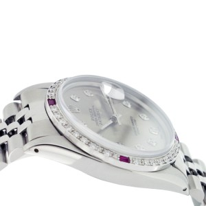 Rolex Datejust 16014 Stainless Steel Silver Diamond Dial & Ruby 36mm Mens Watch