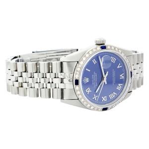 Rolex Datejust 16014 Stainless Steel & 18K White Gold Sapphire & Diamond 36mm Mens Watch
