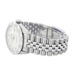 Rolex Datejust 16014 Silver Jubilee Pyramid Diamond Stainless Steel Watch