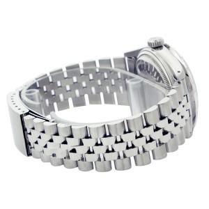 Rolex Datejust 16014 Silver Wave Pyramid Diamond Stainless Steel Watch