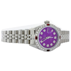 Rolex Datejust 6917 Stainless Steel Purple Dial Ruby and Diamond 26mm Womens Watch