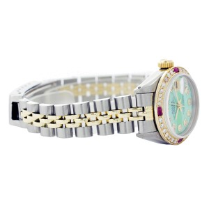 Rolex Datejust 6917 Two Tone Green Mother Of Pearl Dial Diamond & Ruby 26mm Womens Watch