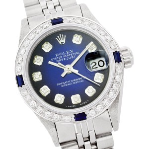 Rolex Datejust 69174 26mm Blue Vignette Diamond Sapphire Stainless Steel Watch