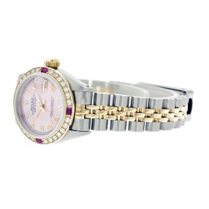 Rolex Datejust 6917 Stainless Steel & 18K Yellow Gold Pink Mother of Pearl Dial 26mm Womens Watch