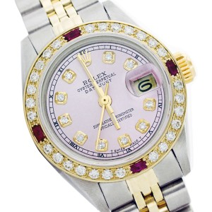Rolex Datejust 6917 Two Tone Ice Pink Dial Ruby & Diamond 26mm Womens Watch