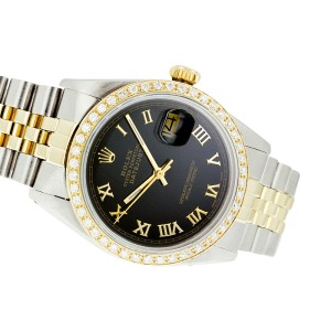 Rolex Datejust 16013 Two Tone Black Roman Dial & Diamond 36mm Mens Watch