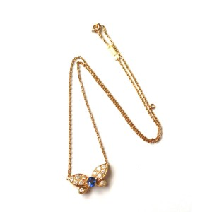 Van Cleef Arpels 18K Yellow Gold Diamond & Sapphire Butterfly Necklace