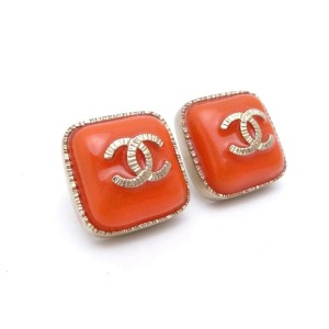 Chanel CC Logo Pierce Orange Red Goldtone Enamel Earrings